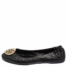 Tory Burch Black Leather Reva Ballet Flats Size 41 428765