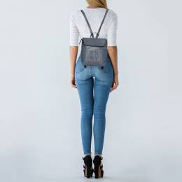Dkny Grey Leather Tilly Stacked Logo Backpack 426493