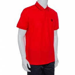 Burberry Red Honeycomb Knit Polo T-Shirt L 428632