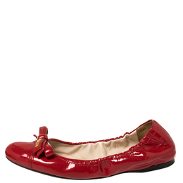 Prada Red Patent Leather Bow Scrunch Ballet Flats Size 38 429327
