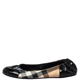 Burberry Black Patent Leather And Nova Check Coated Canvas Scrunch Ballet Flats Size 42 428443