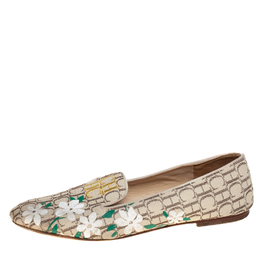 Carolina Herrera Beige Floral Print Signature Canvas Logo Smoking Slippers Size 39 429269