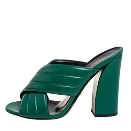 Gucci Green Quilted Leather Sylvia Crisscross Mules Sandals Size 40 429373