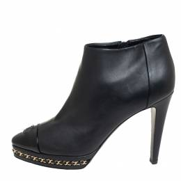 Chanel Black Leather Chain Embellished CC Cap Toe Ankle Boots Size 38 430289