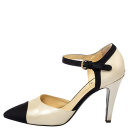 Chanel Beige/Black Leather Pointed Cap Toe Ankle Strap Pumps Size 41 429343