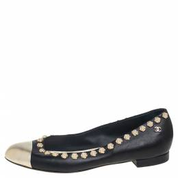 Chanel Black Leather Silver Cap Toe Camellia Studded Ballet Flats Size 39 431283