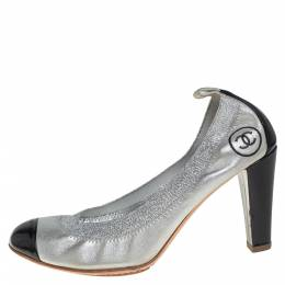 Chanel Silver/Black Suede And Patent Leather Cap Toe Elastic Ballet Pumps Size 38 433373